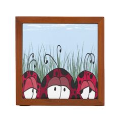The Three Amigos Desk Organizer. The desk organizer is designed with three compartments to hold your pens and pencils. Artwork by #OneArtsyMomma #ladybugs #ladybirds