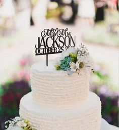 inexpensive personalized Mr and Mrs monogram wedding cake topper EWFT041 as low as $25