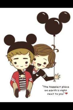 One Direction cartoon! Awwwwww Lirry (: