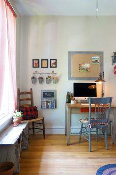 Take a peek at this wonder work-from-home space in this Chicago home. Rustic farmhouse style fills every nook, from top to bottom with no detail left untouched.