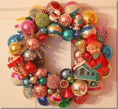 Wreath made with vintage bulbs and toys