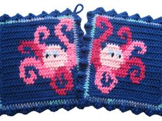 Octopus Potholders. Blue pot holders with pink by hooknsaw