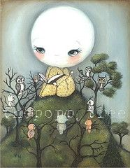 (the poppy tree) Tags: trees sky moon tree bird art girl animal fairytale night forest painting print book hill dream story owl bedtime owls whimsical thepoppytree