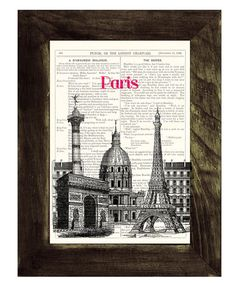 Vintage+Book+Print+++Eiffel+TowerCity+view+Print+on+by+PRRINT