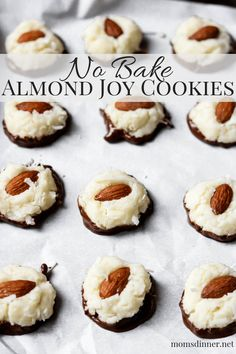 Bake Almond Joy Cookies A NO BAKE coconut and almond cookie that is dipped in chocolate. This is a great copycat Almond Joy Cookie.A NO BAKE coconut and almond cookie that is dipped in chocolate. This is a great copycat Almond Joy Cookie. Cookie Desserts, No Bake Desserts, Just Desserts, Delicious Desserts, Delicious Cookies, Holiday Desserts, Healthy Desserts, Healthy Food, Candy Recipes
