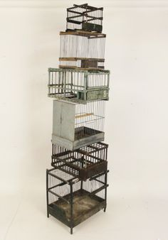 artpropelled:    Antique Bird Cages.------ It looks as though this was made as an art piece, but the idea of removing the bottoms of several bird houses and connecting them is a wonderful one. The bird would have plenty of stimulation with all the different spaces it could move between.