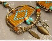 Boucles d'oreille créoles-rocaille tissée-turquoise-sequin-orange fluo : Boucles d'oreille par rare-et-sens