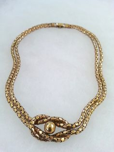 Vintage 1940s Victorian Revival 12K GF Lovers Knot Interlocking Snake/Rope Chain Necklace/Choker at shopFiligree on Etsy