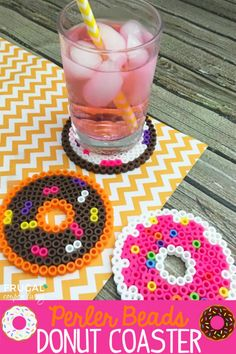 Free Perler Beads Template – Make your own donut craft with adorable handmade coaster. : Free Perler Beads Template – Make your own donut craft with adorable handmade coaster. Diy Crafts To Sell, Fun Crafts, Crafts For Kids, Motifs Perler, Perler Patterns, Bead Patterns, Jewelry Patterns, Perler Bead Templates, Pinterest Crafts
