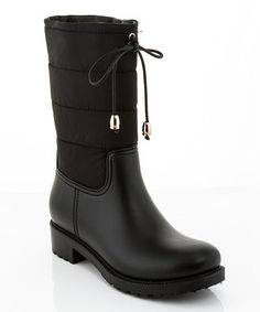 Black Quilted Queen Rain Boot
