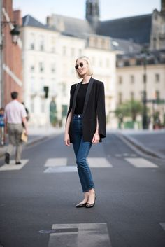 H&M Conscious collection silk blazer in black.
