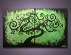 Mystery Hollows  32 x 20 2 Canvases  Modern by NickReitenour, $54.99