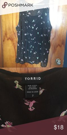 Torrid Hummingbird Chiffon Tank w/ Button Back Cute black chiffon tank top with hummingbirds. The entire back of the shirt buttons. Gently worn with no signs of wear. torrid Tops Tank Tops