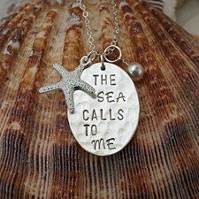 "Sterling Silver Hand Stamped ""The Sea Calls To Me"" Necklace with charms"