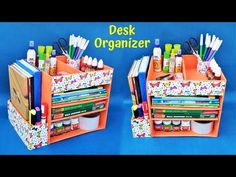 DIY : How to make Desk Organizer with waste cardboard Cereal Box Organizer, Cardboard Organizer, Cardboard Crafts, Organiser Box, Cardboard Boxes, Diy Desktop Organizer, Diy Organizer, Diy Crafts For School, Desk Organization Diy