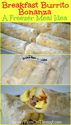 Breakfast Burrito Bonanza { A Freezer Meal Idea } | Mom On Timeout.com - Save time in the mornings with make-ahead freezer meal breakfast burritos! #breakfast #freezermeal #recipe