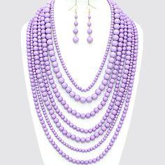 Chunky Layered Multi Row Lavender Purple Gold Bead Beaded Statement Necklace Set Elegant Costume Jewelry