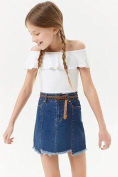 Girls Step-Hem Denim Skirt (Kids)