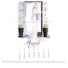 The first SANDY M 2015 Fashion Illustration Calendar is available now! All of the girls in the illustrations are wearing gowns from designer spring summer 2015 collections! August's girl (who is pushing an elevator call button that says CHAMPAGNE rather than merely up or down in her luxury city apartment building) is wearing #reemacra ✨ CALENDAR AVAILABLE AT www.sandymillustration.com #illustration #fashion #calendar #sandym2015calendar