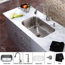 "View the Kraus KBU14-KPF2170-SD20 30"" Undermount Single Bowl 16 Gauge Stainless Steel Kitchen Sink with Pullout Spray Kitchen Faucet and Soap Dispenser at FaucetDirect.com."