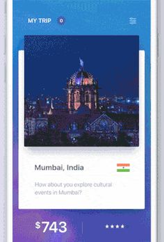 Swipe to travel mobile app interaction featuring Tinder-style cards layout and swiping gestural interaction.