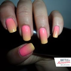 rose & yellow degrade mani  if I painted my nail but they chip in 2 hours.