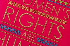 Detail of Laura Hopewell's Women's Rights sign
