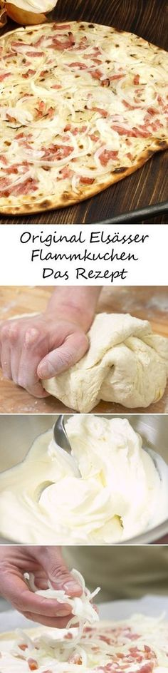 Ein knusprig-krosser Boden – getoppt von Zwiebeln, Schinken und Schmand – so sch… A crunchy-crispy bottom – topped with onions, ham and sour cream – that's how the French original tastes. HERE's the recipe for a delicious Alsatian tarte cake >>> Pizza Recipes, Cooking Recipes, Bread Recipes, Easy Recipes, Soul Food, Food Inspiration, Food Porn, Easy Meals, Food And Drink