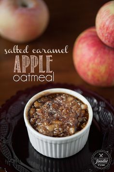 Salted Caramel Apple Oatmeal | Self Proclaimed Foodie - all the goodness of steel cut oats with the sweet taste of Fall