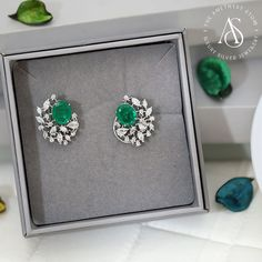 Swaroski Earrings Silver Jewellery Studded With Cubic Zirconia. Real Diamond Earrings, Silver Earrings Online, Diamond Necklace Set, Gold Earrings Designs, Diamond Brooch, Emerald Earrings, Emerald Jewelry, Silver Jewelry, Golden Earrings