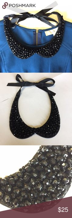 Anthropologie Beaded Collar Necklace with Bow Anthropologie. Beaded Crystal Collar Necklace. Retail: $55. Black color. Ties around neck with grosgrain ribbon. Smaller black crystals are woven on to felt backing and intermixed with larger black circular crystals. Looks beautiful with a crew neck top or turtleneck! Perfect condition. 20% Off Bundles of 2+ Items! Anthropologie Jewelry Necklaces