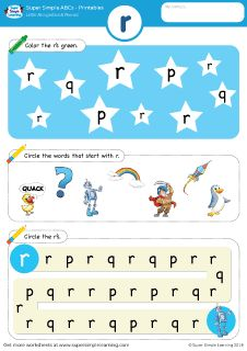 Lowercase letter r alphabet worksheet from Super Simple Learning. #preschool #phonics