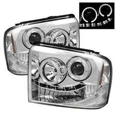 2005 2006 2007 Ford Super Duty Excursion Osram LED Halo DRL Daytime Running Lights Front Projector Headlights Headlamps Replacements Both Driver Passenger Sides Left Right Pair Set w/ Low Beam High Beam Bulbs 05 06 07 Chrome Projector Headlights, Car Headlights, Led Projector, Led Tail Lights, Car Lights, Car Ford, Auto Ford, Headlight Bulbs, Headlight Covers