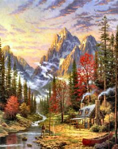 Thomas Kinkade The Good Life art painting for sale; Shop your favorite Thomas Kinkade The Good Life painting on canvas or frame at discount price. Kinkade Paintings, Art Paintings, Fantasy Landscape, Landscape Art, Landscape Paintings, Thomas Kinkade Art, Thomas Kincaid, Art Thomas, Creation Art