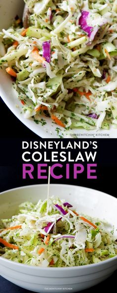 Disneyland& coleslaw recipe is a summer BBQ hit. A delicious side dish with a sweet and tangy coleslaw dressing. Coleslaw Salad, Coleslaw Dressing, Vegan Coleslaw, Coleslaw Recipes, Salad Dressing, Salad Recipes, Gourmet, Lunches, Breakfast