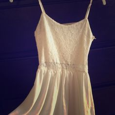 H&M baby doll dress Worn once, excellent condition. Lace on top chiffon on bottom. Short and cute. Off white color. H&M Dresses