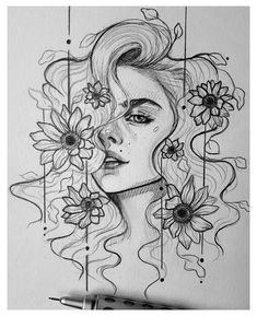 Dark Art Drawings, Girly Drawings, Pencil Art Drawings, Creative Pencil Drawings, Pencil Sketching, Pretty Drawings, Tattoo Drawings, Girl Drawing Sketches, Art Drawings Sketches Simple