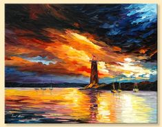 Before A Storm — Limited Edition Lighthouse Seascape Ocean Wall Art Print On Canvas By Leonid Afremov. Colorful Paintings, Cool Paintings, Original Paintings, Best Paint For Canvas, Oil Painting On Canvas, Canvas Art, Painting Art, Underwater Painting, Painting Trees