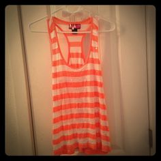 Cute coral and white sequin tank Cute little coral and white striped racer back tank with clear sequins on the front. ☀️ Tops Tank Tops