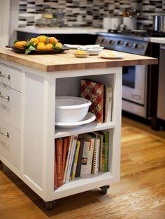 Kitchen Island w/ Storage on Casters --> http://www.hgtv.com/designers-portfolio/room/traditional/kitchens/1950/index.html?soc=pinterest#/id-8144/room-kitchens/color-white?soc=pinterest
