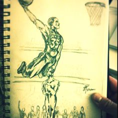 """Kevin Durant dunks on the Academy Award"". Drew this to represent how much more interested in the NBA All-star game than the Oscars."