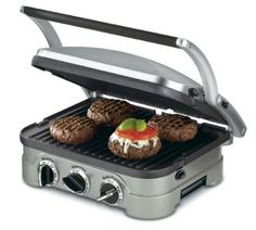 Cuisinart GR-4N 5-in-1 Griddler $79.00 / 5-in-1 unit:  grill, panini prs, full grill, full griddle, and half grill/half griddle. Brushed stnls housing; sturdy hndl; floating cvr adj. to thkns. Rem. and rev. no-stk plts drain to drip tray for healthy cooking; Adj. temp. cont. w/ind. lights; gmt recipes & scraping tool incl. DW safe; 3-yr ltd wnty  http://www.amazon.com/gp/product/B002YD99Y4/ref=as_li_tf_tl?ie=UTF8=1789=9325=B002YD99Y4=as2=hotomamoon0d8-20