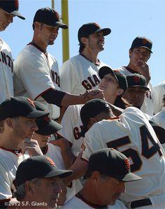 SF Giants Photos; Ryan helping Romo up...