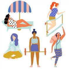 Some spots for an article on healthy habits for Oprah Magazine #illustration…