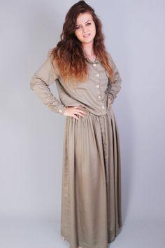 Beige casual maxi long sleeve dress in   loose big size by Senamon