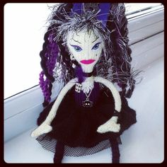 Dark/Gothic Jet Knitted Fairy Doll OOAK by Becazzled on Etsy, £19.99