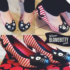 I'd wear these alllll the time!!! Kitties, AND stripes? What?! Get on my feet! #blamebetty #kittenheels #pinupstyle