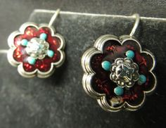 Vintage Designer SIGNED Avon Silver European Hook Earrings Red Enamel Turquoise