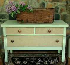 Tame a trashed dresser with pastel paint & burlap panels.