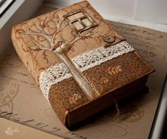 """Handmade book by Smilla-design(((**COVER IDEAS-1/4"""" TO1/2"""" THICK WOOD(TYPE OF POSSIBLE WOOD?) COVERS(FRONT & BACK AND 1/4"""" IS GOOD) & DO WOODBURNING &/OR WITH/W.OUT FAB.COLLAGE,PCS.,ETC.,DO SOME SKETCHES)) ***ALSO WITH DIFF. WIDTHS OF OF TWIGS/BRANCHES WITH MULTI TOOL CUT OUT 1/4-1/2"""" THICK PCS. FOR BUTTONS!!!!!( ALL DIFF. SIZES/WIDTHS & ALSO DRILL WITH VERY SM. DRILL BIT DRILL 2 OR 4 HOLES((BUTTONS,BUTTONS,BUTTONS!!!) ****WHAT ELSE COULD I USE TWIGS ,VAR. SIZES, FOR?"""